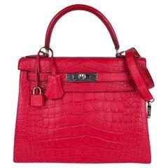 Hermes Kelly 28 Bag Rose Extreme Matte Alligator Palladium Hardware New w/Box