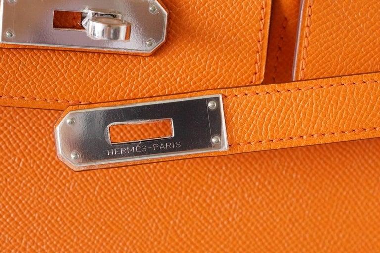 HERMES BIRKIN 35 Bag Signature H Orange Epsom Palladium  2