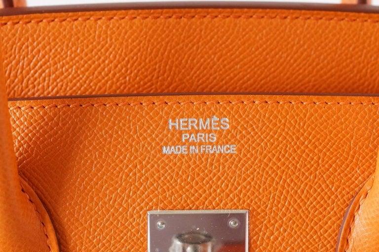 HERMES BIRKIN 35 Bag Signature H Orange Epsom Palladium  3
