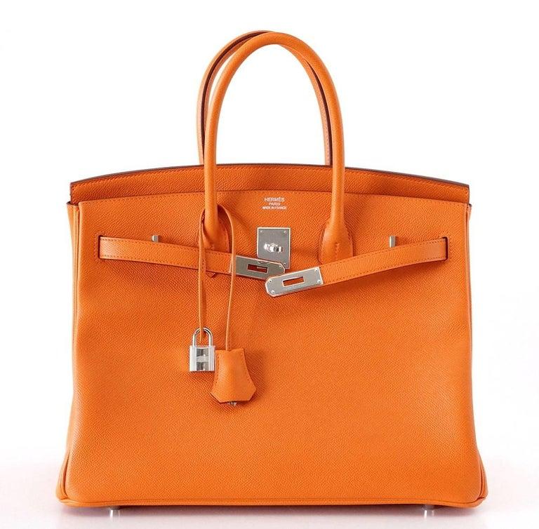 HERMES BIRKIN 35 Bag Signature H Orange Epsom Palladium  5
