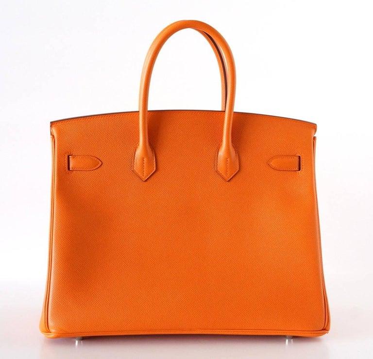 HERMES BIRKIN 35 Bag Signature H Orange Epsom Palladium  6