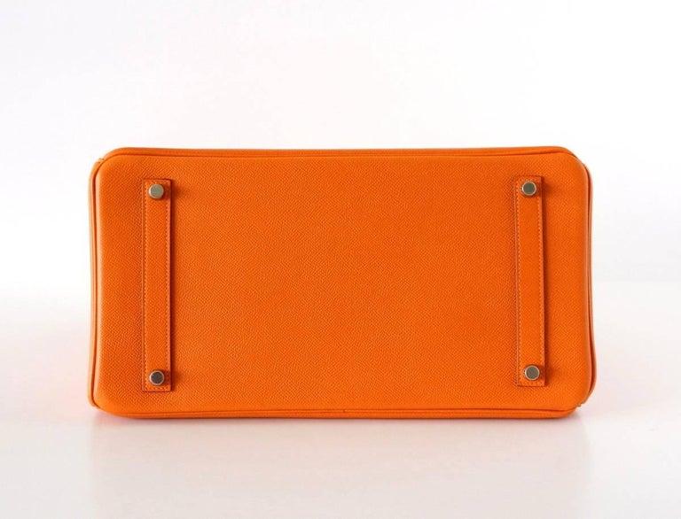 HERMES BIRKIN 35 Bag Signature H Orange Epsom Palladium  7