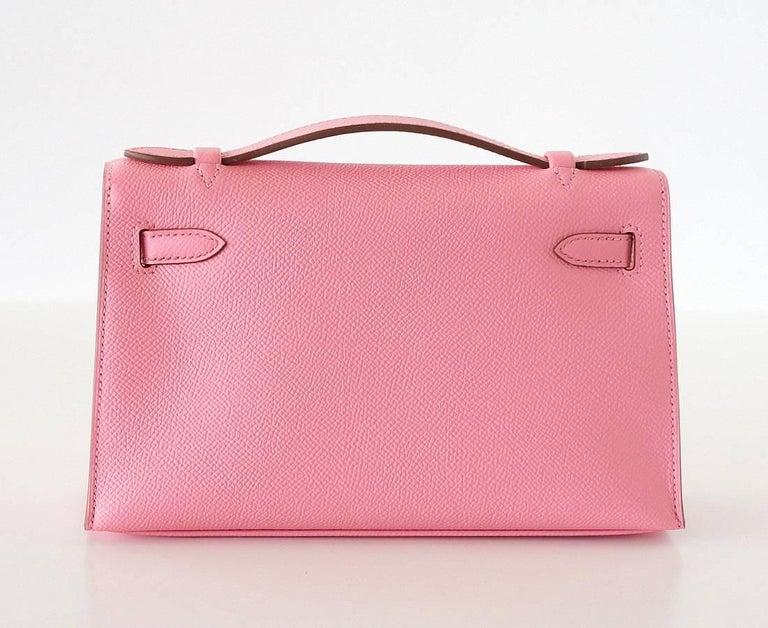 Hermes Kelly Pochette Glorious Pink Rose Confetti Epsom Palladium Hardware 2