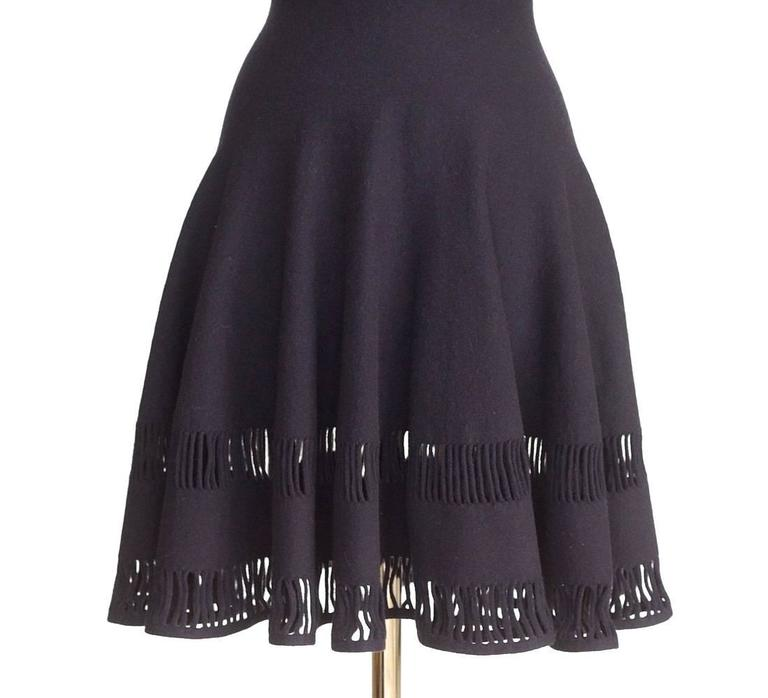 AZZEDINE ALAIA dress Navy skater skirt laser cut hem 38 / 4  nwt Gorgeous 2