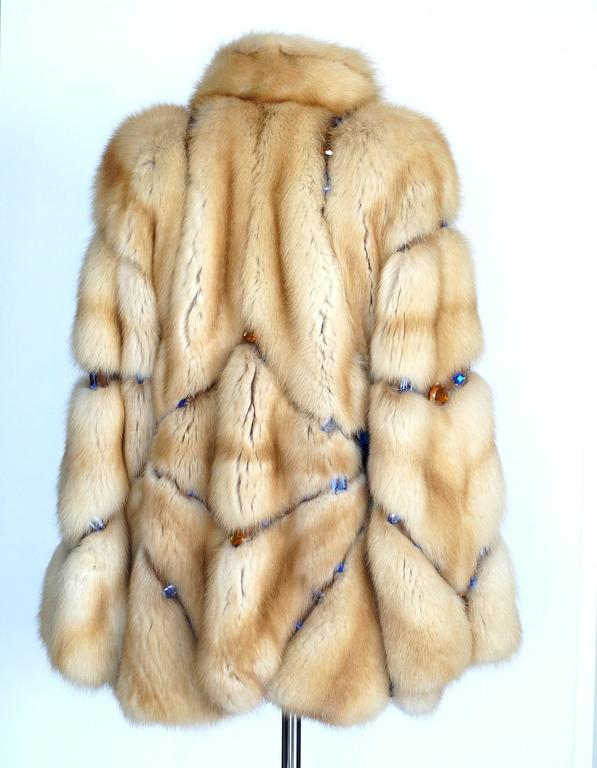 Beige Russian Sable Fur Coat Jeweled Unique Striking 6 / 8 For Sale