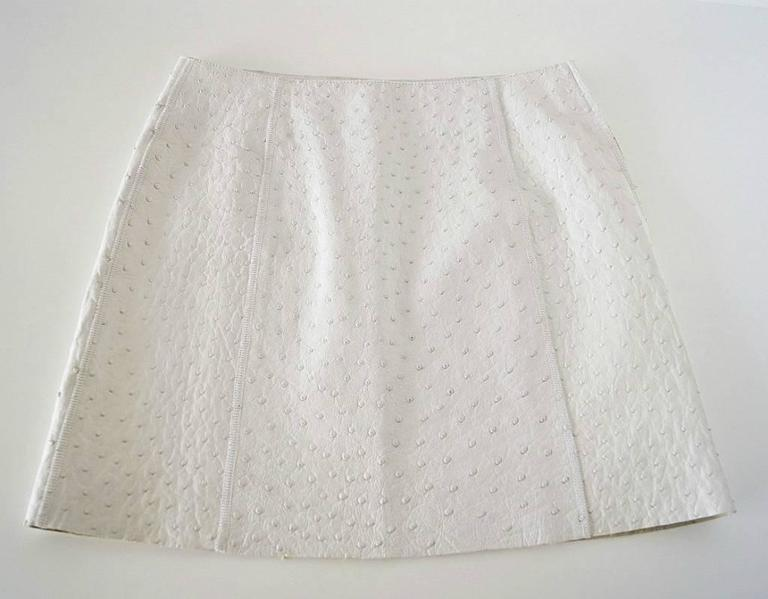 Gray Prada White South African Ostrich Skirt, Limited Edition 40 / 6 NWT For Sale