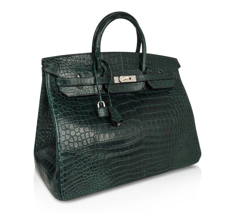 Hermes Birkin 40 Bag Vert Fonce Matte Porosus Crocodile Palladium For Sale 2