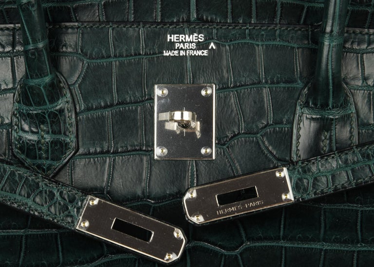 Black Hermes Birkin 40 Bag Vert Fonce Matte Porosus Crocodile Palladium For Sale