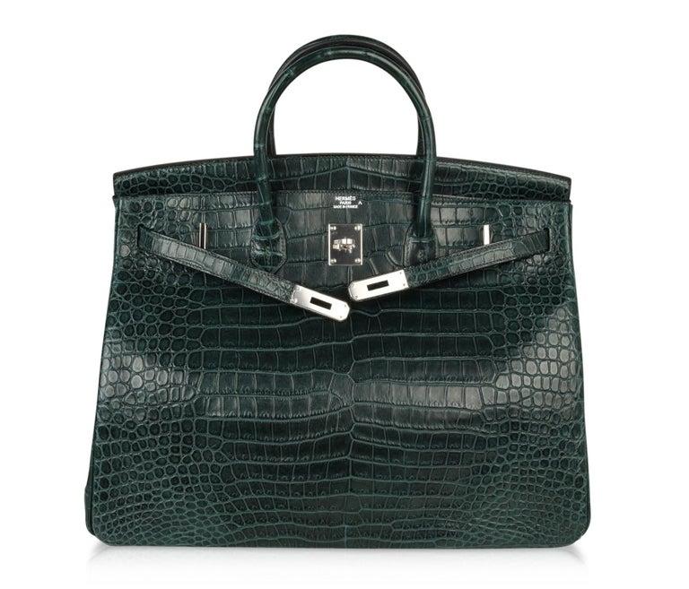 Hermes Birkin 40 Bag Vert Fonce Matte Porosus Crocodile Palladium For Sale 1