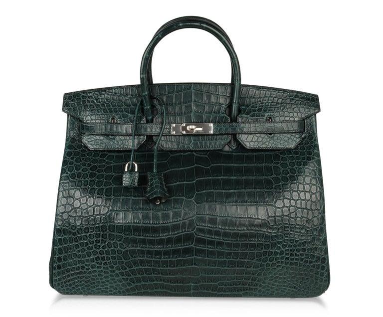 Hermes Birkin 40 Bag Vert Fonce Matte Porosus Crocodile Palladium For Sale 3