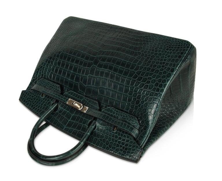Women's or Men's Hermes Birkin 40 Bag Vert Fonce Matte Porosus Crocodile Palladium For Sale