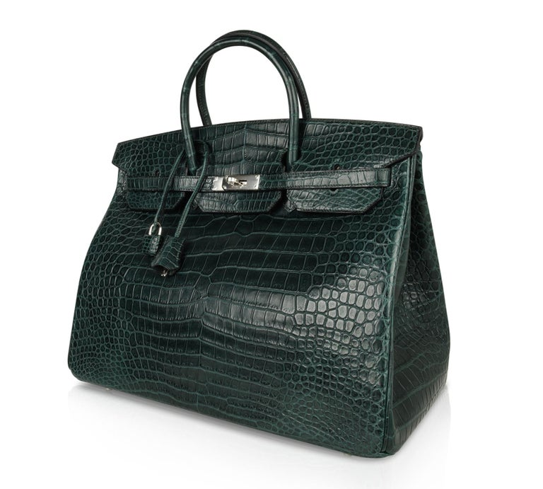 Hermes Birkin 40 Bag Vert Fonce Matte Porosus Crocodile Palladium For Sale 4