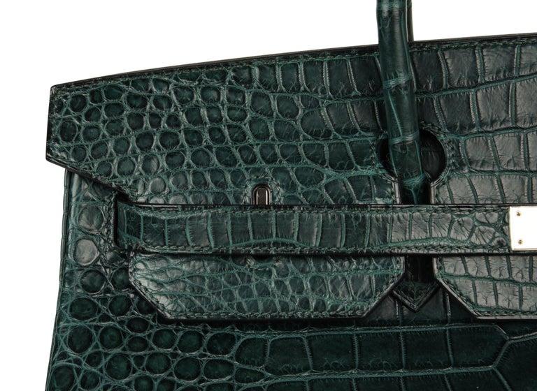Hermes Birkin 40 Bag Vert Fonce Matte Porosus Crocodile Palladium For Sale 5