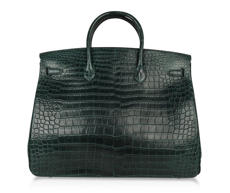 Hermes Birkin 40 Bag Vert Fonce Matte Porosus Crocodile Palladium For Sale 6