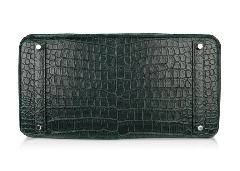 Hermes Birkin 40 Bag Vert Fonce Matte Porosus Crocodile Palladium For Sale 7