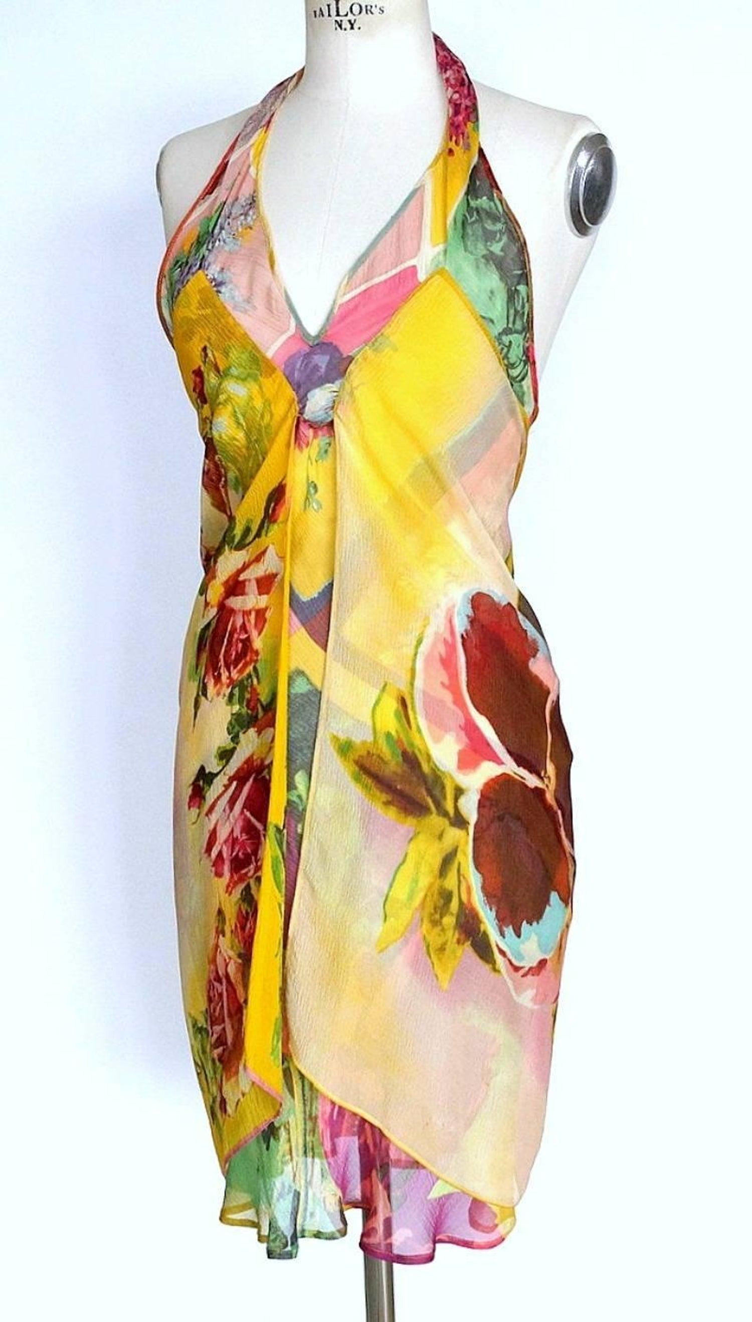 91a7fe49451 Jean Paul Gaultier Vintage Rich Flower Print Halter Dress
