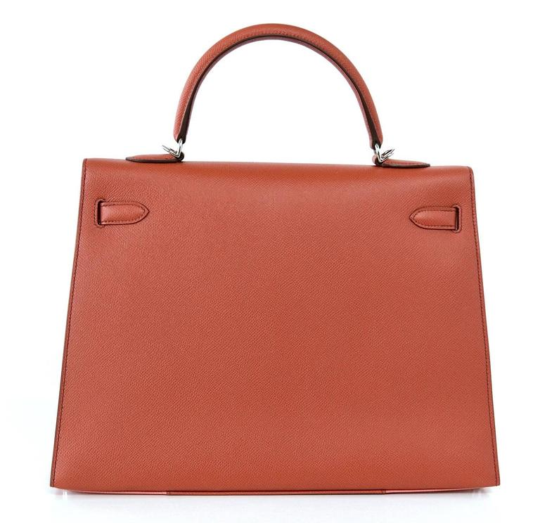 HERMES KELLY 35 Flag Bag Limited Edition Flamingo and Coral Rare 4