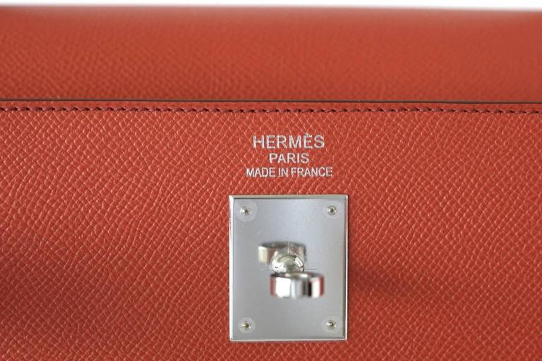 HERMES KELLY 35 Flag Bag Limited Edition Flamingo and Coral Rare 3