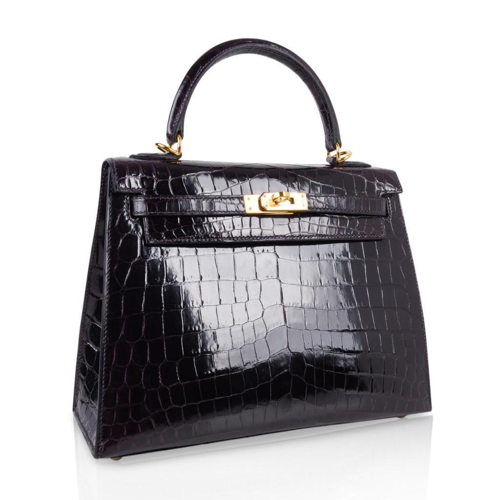 a958e37f690e ... shop womens hermes kelly 25 sellier bag crocodile prunoir gold hardware  deep plum purple for sale