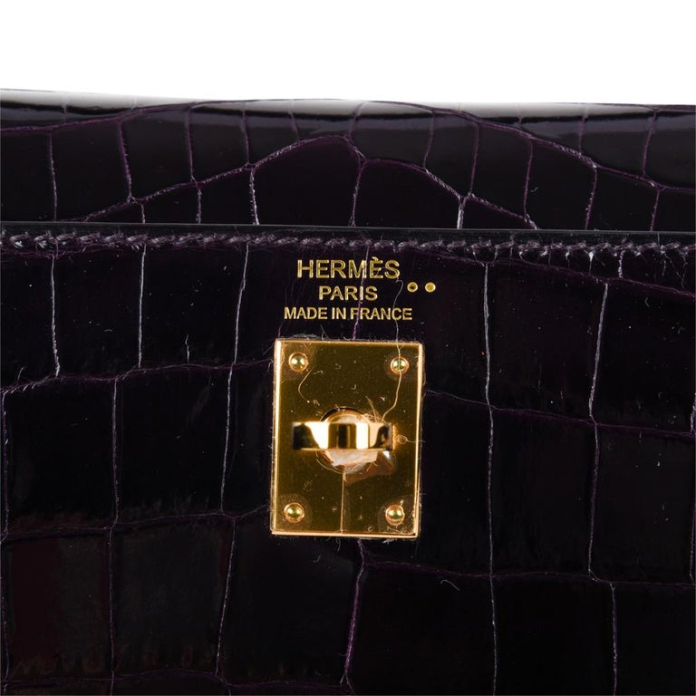 Black Hermes Kelly 25 Sellier Bag Crocodile Prunoir Gold Hardware Deep Plum Purple For Sale