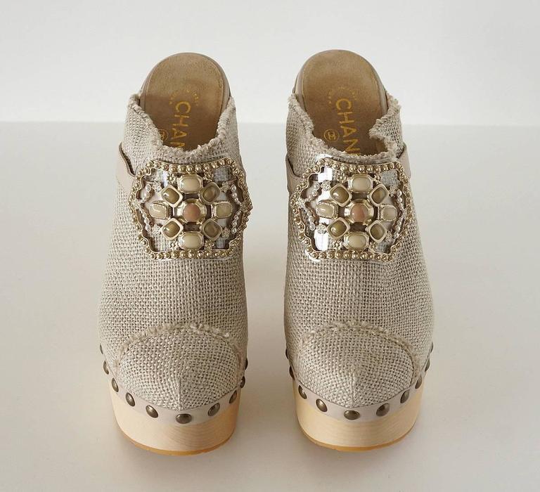 CHANEL Shoe Platform Clog Limited Edition Jewel Hardware  40.5 / 10.5  nwb 3