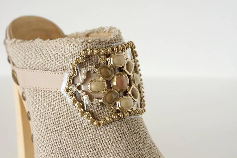 CHANEL Shoe Platform Clog Limited Edition Jewel Hardware  40.5 / 10.5  nwb 6