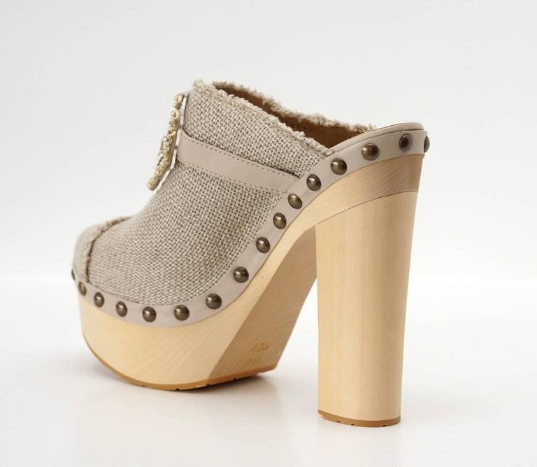 CHANEL Shoe Platform Clog Limited Edition Jewel Hardware  40.5 / 10.5  nwb 7