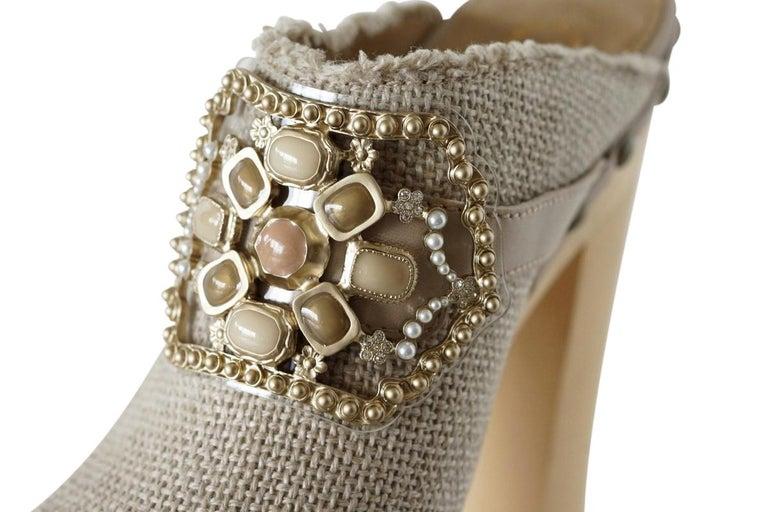 Chanel Shoe Platform Clog Limited Edition Jewel Hardware  40.5 / 10.5 NWB For Sale 5