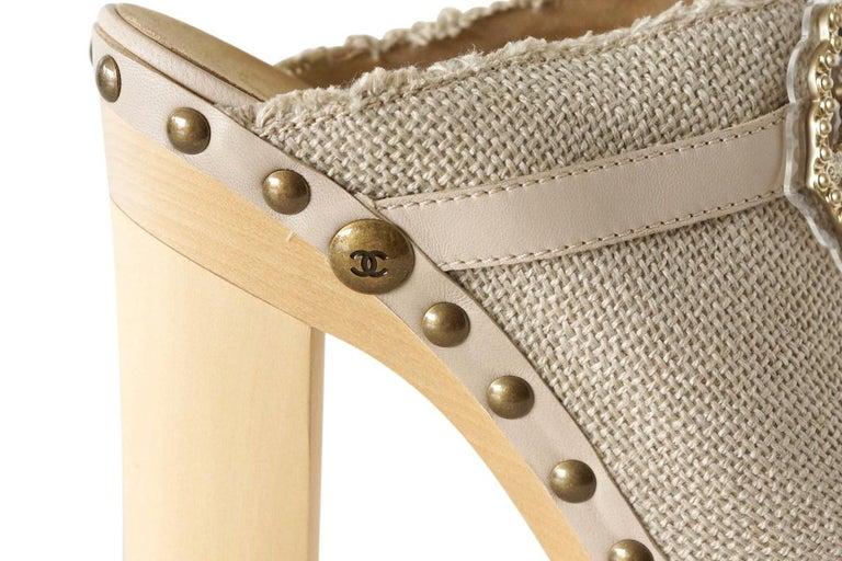 Brown Chanel Shoe Platform Clog Limited Edition Jewel Hardware  40.5 / 10.5 NWB For Sale