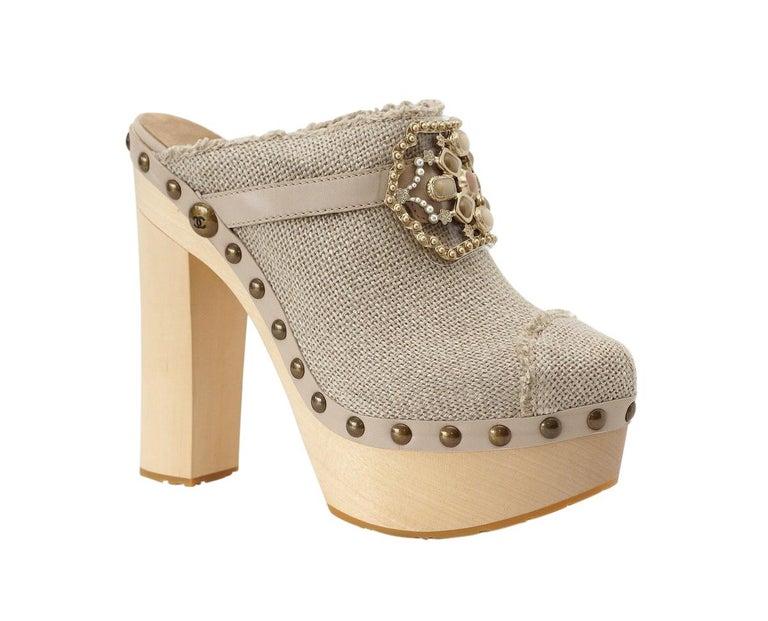 Women's Chanel Shoe Platform Clog Limited Edition Jewel Hardware  40.5 / 10.5 NWB For Sale