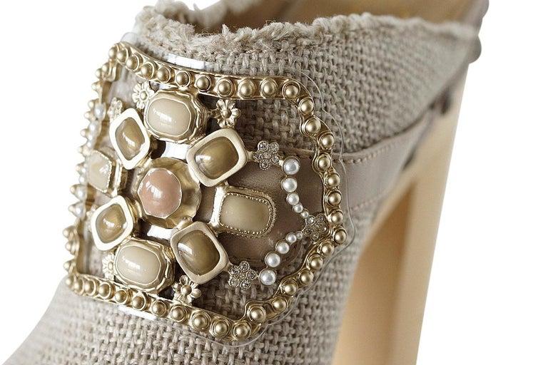 Chanel Shoe Platform Clog Limited Edition Jewel Hardware  40.5 / 10.5 NWB For Sale 4