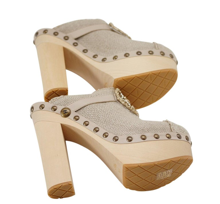 Chanel Shoe Platform Clog Limited Edition Jewel Hardware  40.5 / 10.5 NWB For Sale 8