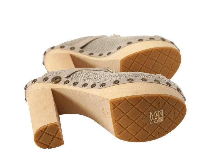 Chanel Shoe Platform Clog Limited Edition Jewel Hardware  40.5 / 10.5 NWB For Sale 9