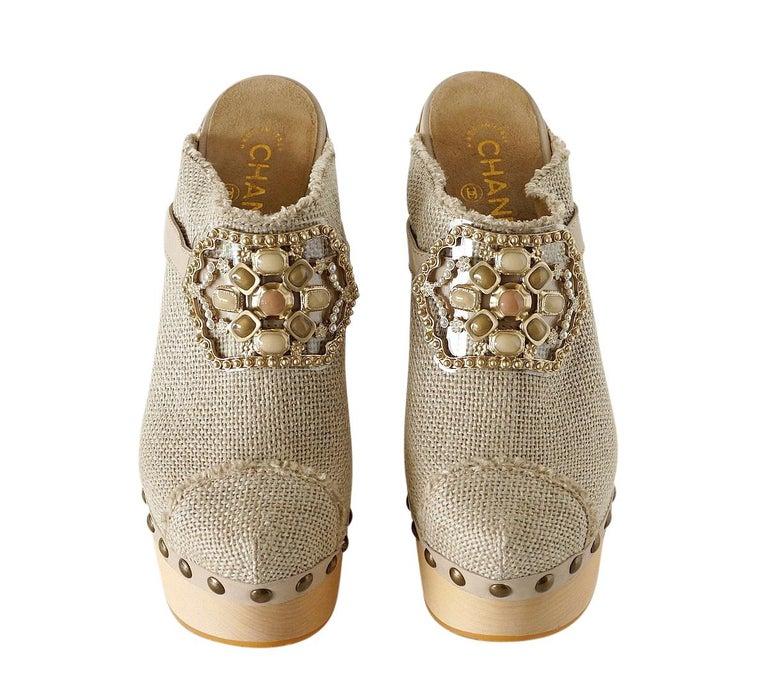 Chanel Shoe Platform Clog Limited Edition Jewel Hardware  40.5 / 10.5 NWB For Sale 7