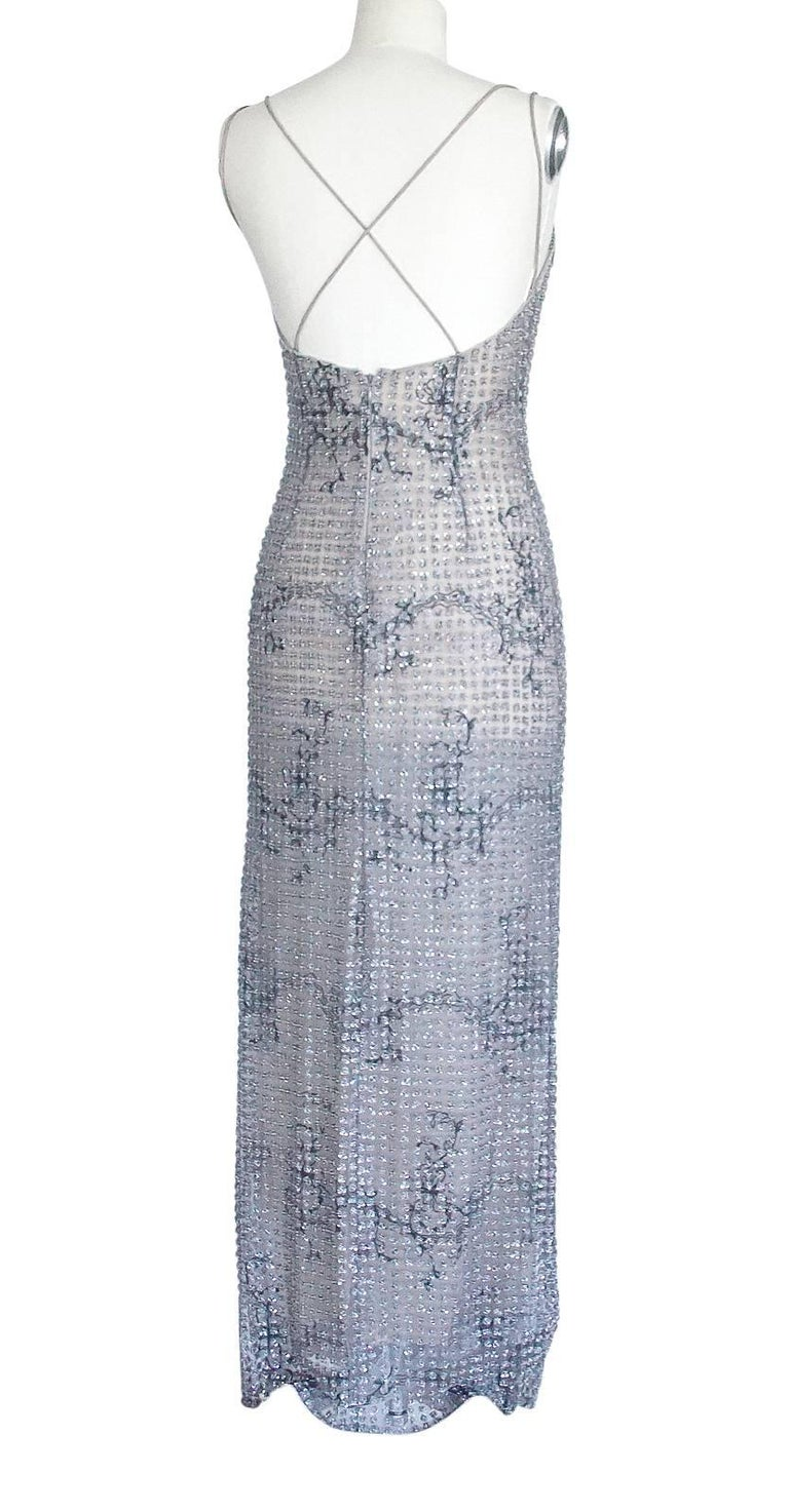 Giorgio Armani Black Label Vintage Beaded Gown  New 40 / 6 For Sale 4