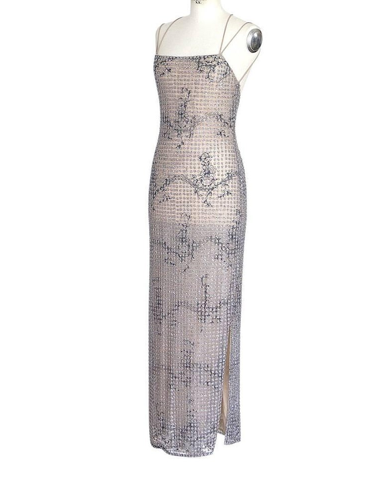 Gray Giorgio Armani Black Label Vintage Beaded Gown  New 40 / 6 For Sale