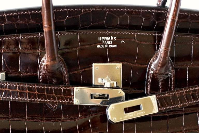 ddc8ba8ede This exquisite Chocolate Brown Porosus Crocodile Birkin is the epitome of  chic. Very rare colour