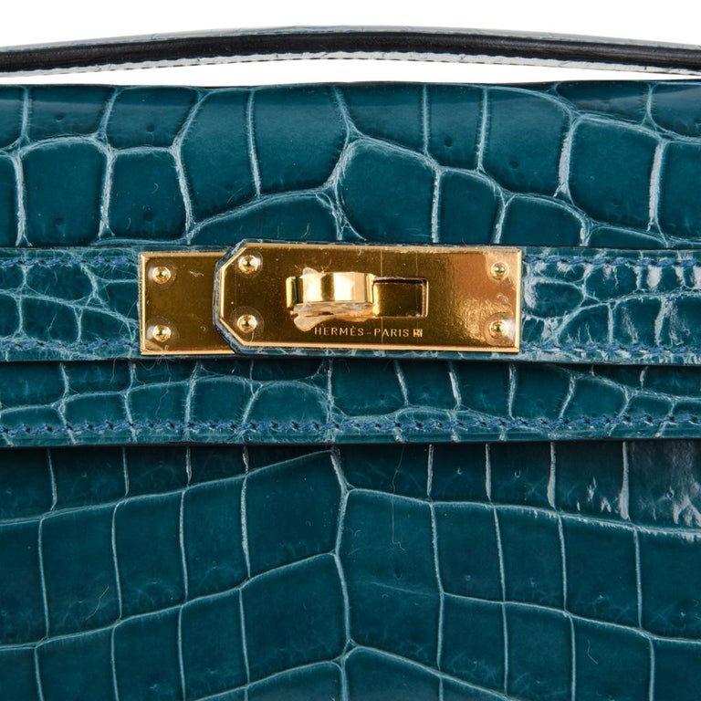 fad0da8ed96f Blue Hermes Kelly Cut Bleu Colvert Crocodile Gold Hardware Clutch Bag For  Sale