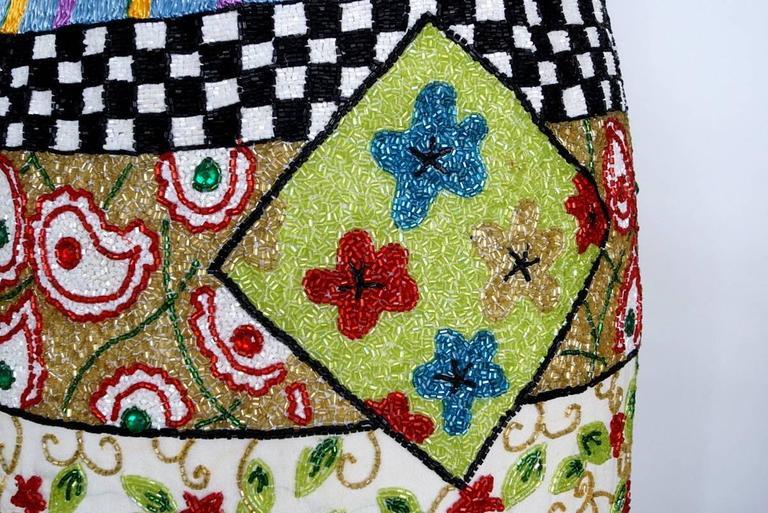 Women's TODD OLDHAM Skirt Remarkable Beaded Vintage S For Sale