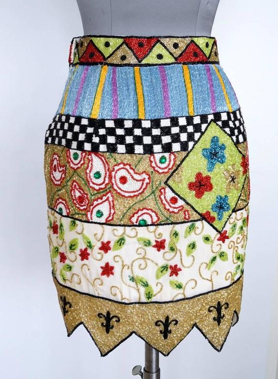 TODD OLDHAM Skirt Remarkable Beaded Vintage S In Excellent Condition For Sale In Miami, FL