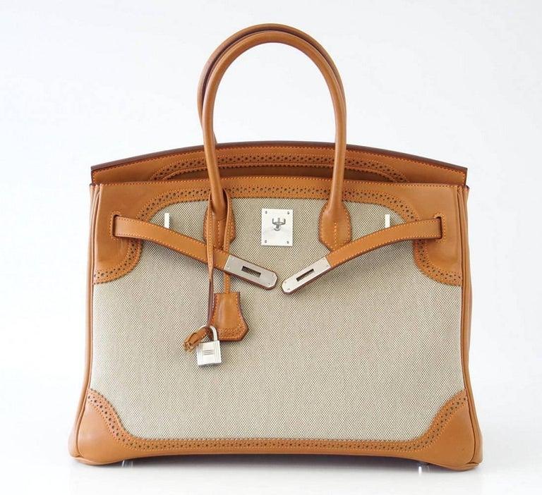 Hermes Birkin 35 Bag Ghillies Barenia Toile Palladium Rare  2
