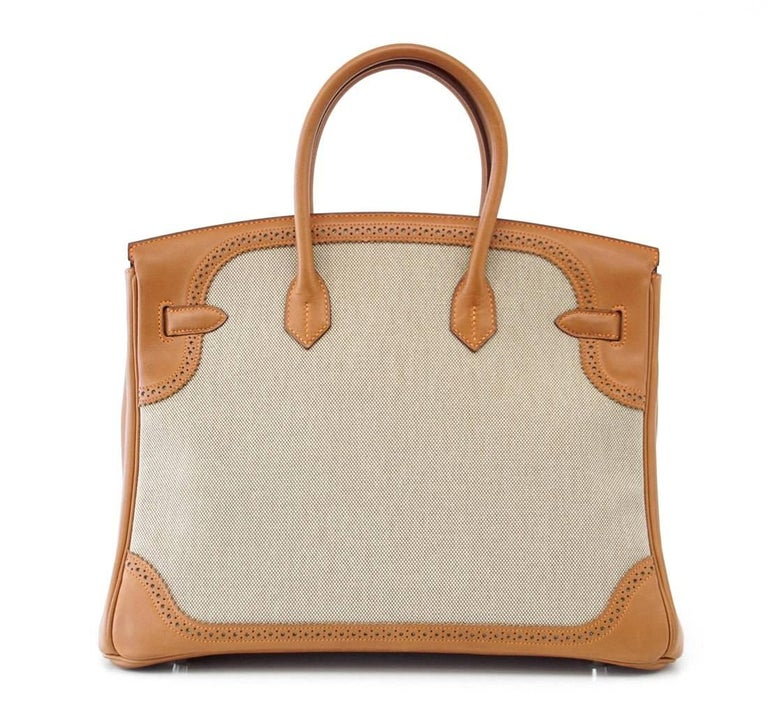 Hermes Birkin 35 Bag Ghillies Barenia Toile Palladium Rare  4