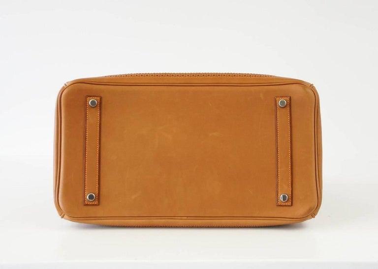 Hermes Birkin 35 Bag Ghillies Barenia Toile Palladium Rare  5