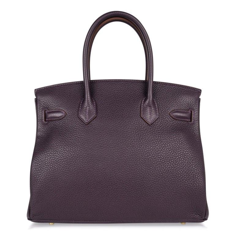 Hermes Birkin 30 Bag Rich Raisin Gold Hardware Original Colour Togo  For Sale 4