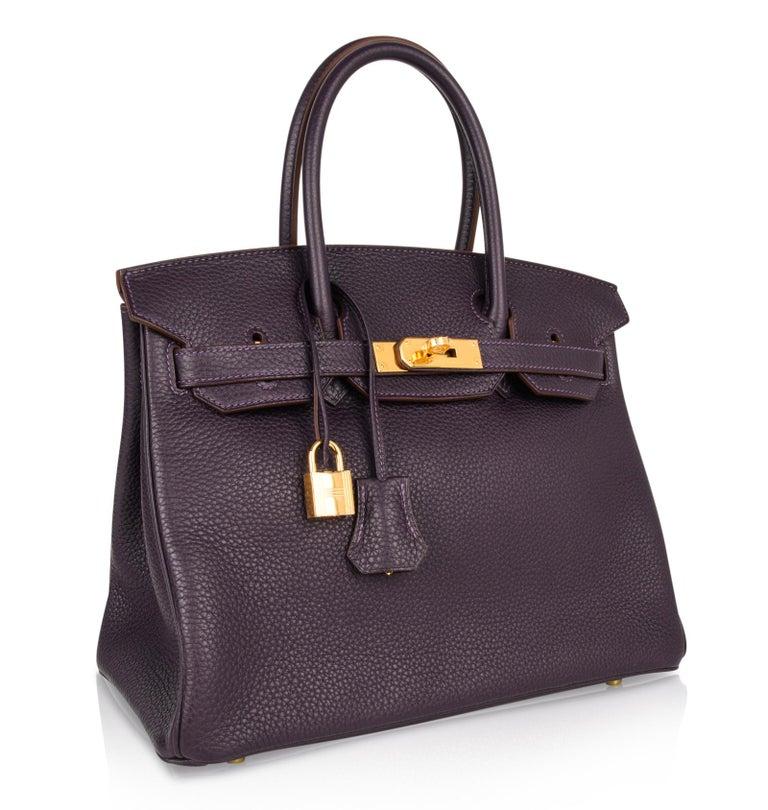 Hermes Birkin 30 Bag Rich Raisin Gold Hardware Original Colour Togo  For Sale 3