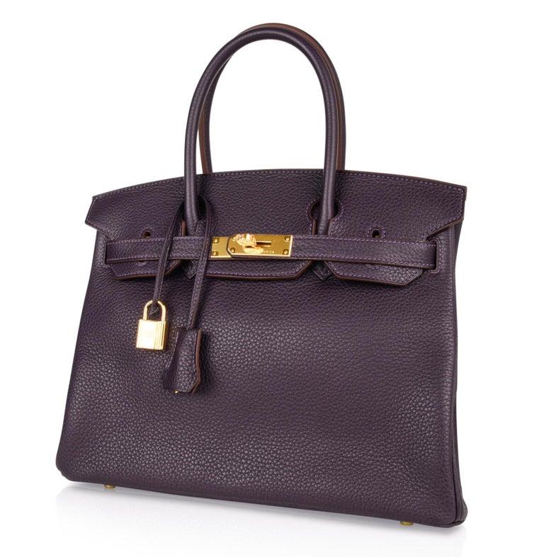 Hermes Birkin 30 Bag Rich Raisin Gold Hardware Original Colour Togo  For Sale 2