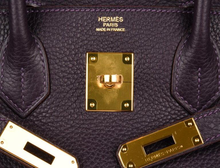 Hermes Birkin 30 Bag Rich Raisin Gold Hardware Original Colour Togo  In New Condition For Sale In Miami, FL