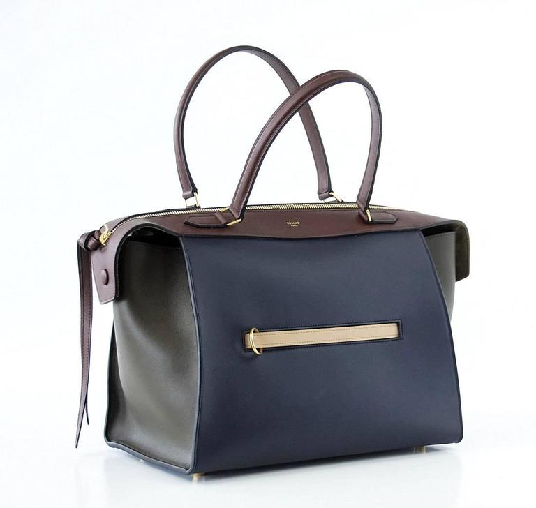 Celine Tri Colour Navy Brown Olive Small New Ring Bag  2