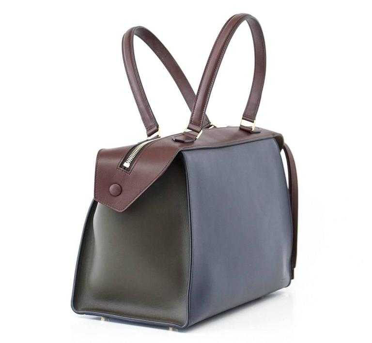 Celine Tri Colour Navy Brown Olive Small New Ring Bag  3