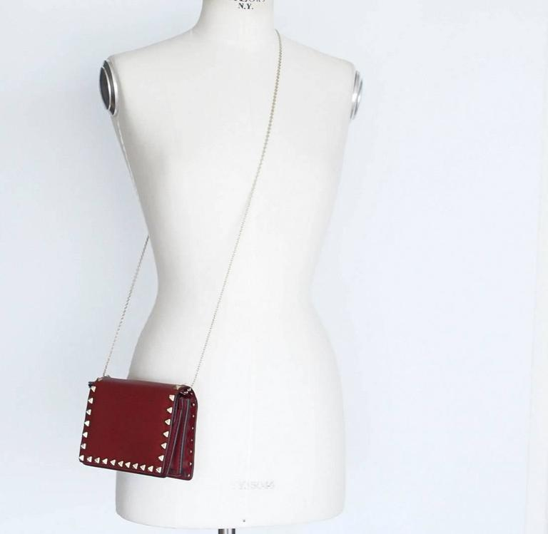 VALENTINO Garavani Bag Red Mini Rock Stud Clutch Cross Body Wallet on a Chain 3